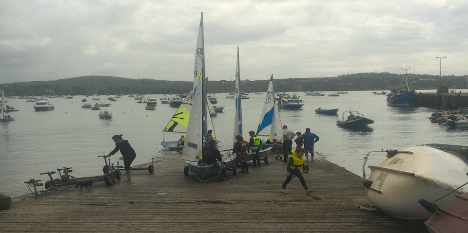Photograph of club boats being launched during Junior Sailng
